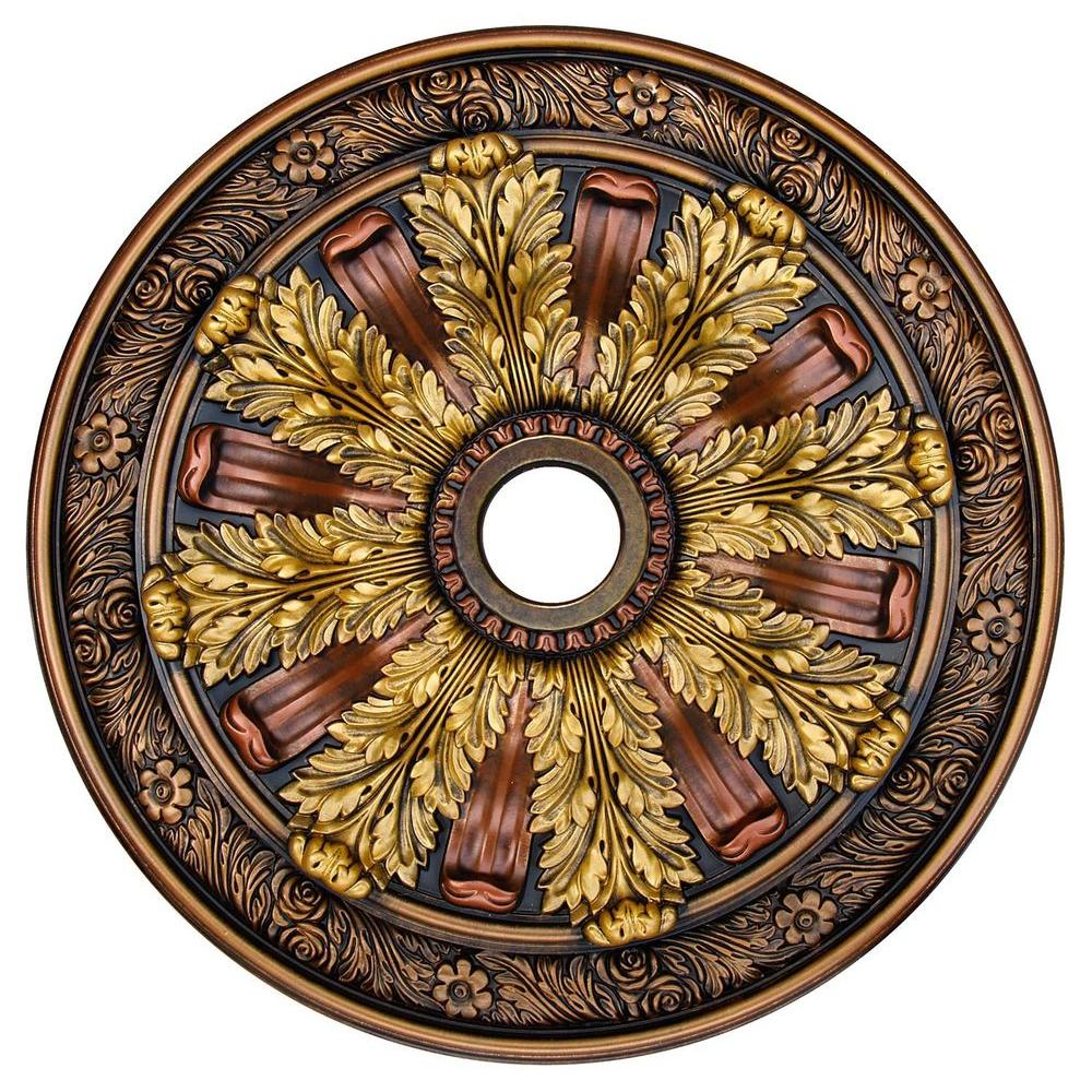 Fine art deco sunshine illusion bronze gold copper 30 in polyurethane hand painted ceiling for Architectural medallions exterior