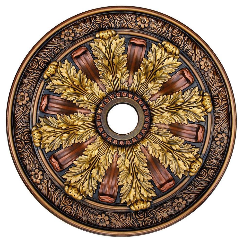 Fine Art Deco Sunshine Illusion, Bronze, Gold, Copper 30 in. Polyurethane Hand Painted Ceiling Medallion