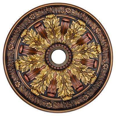 Sunshine Illusion, Bronze, Gold, Copper 30 in. Polyurethane Hand Painted Ceiling Medallion