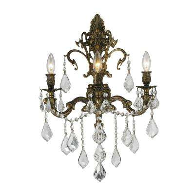Versailles 3-Light Antique Bronze with Crystal Sconce