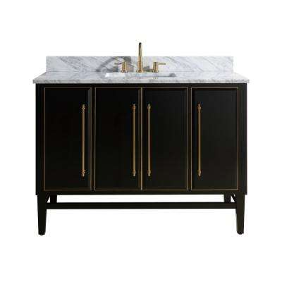 Mason 49 in. W x 22 in. D Bath Vanity in Black with Gold Trim with Marble Vanity Top in Carrara White with White Basin