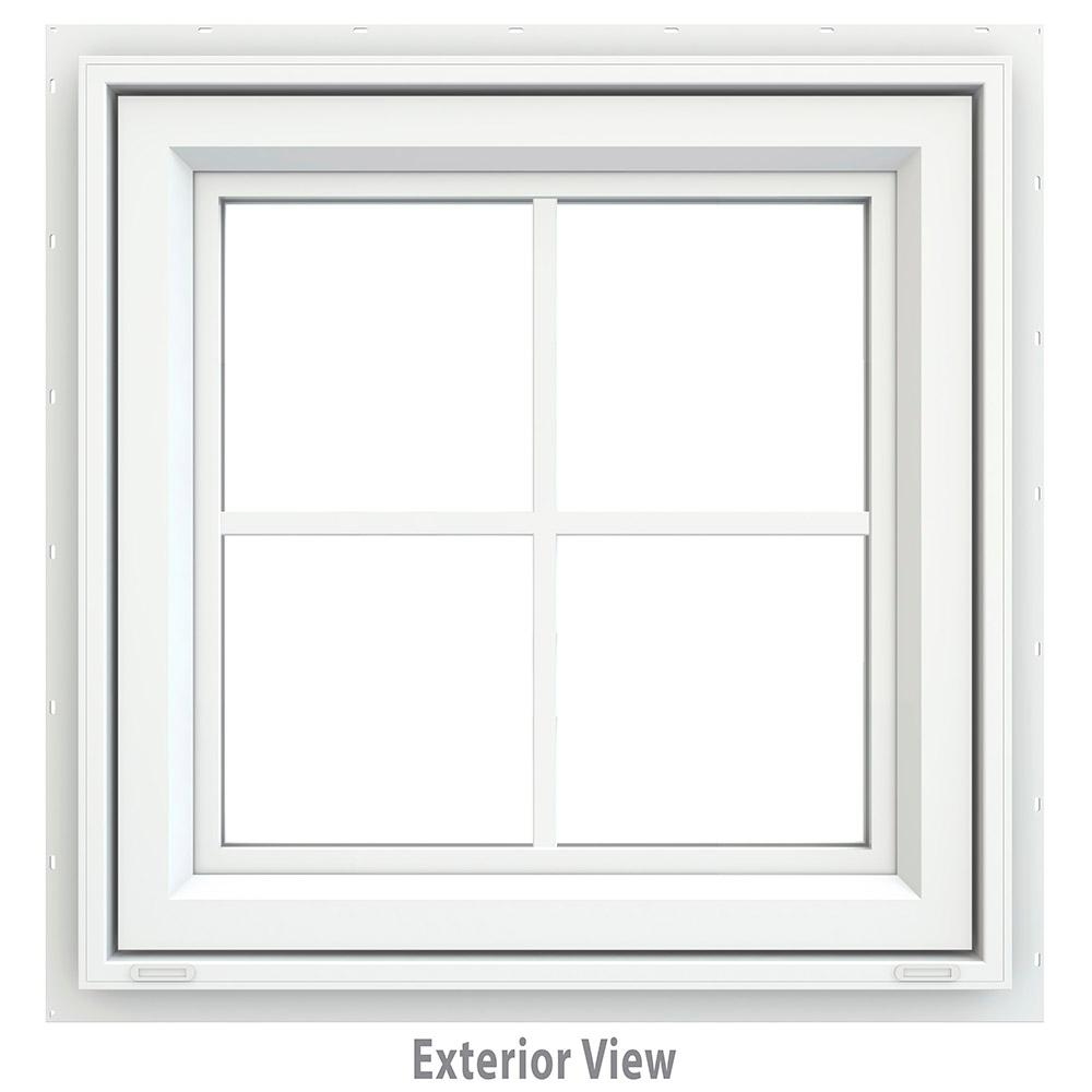 JELD-WEN 23.5 in. x 23.5 in. V-4500 Series White Vinyl Awning Window with Colonial Grids/Grilles