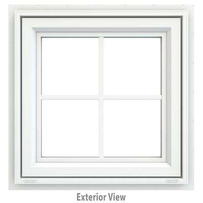 23.5 in. x 23.5 in. V-4500 Series Awning Vinyl Window with Grids - White