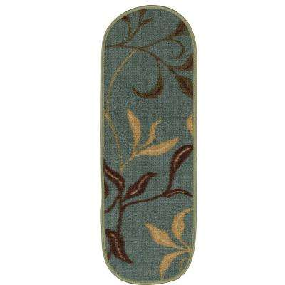 Ottohome Collection Contemporary Leaves Design Seafoam 9 In. X 26 In. Rubber  Back Oval