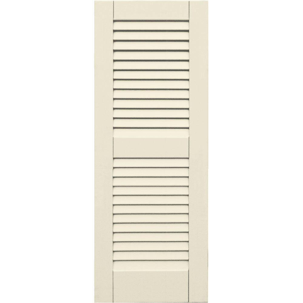 Winworks Wood Composite 15 in. x 40 in. Louvered Shutters Pair #651 Primed/Paintable
