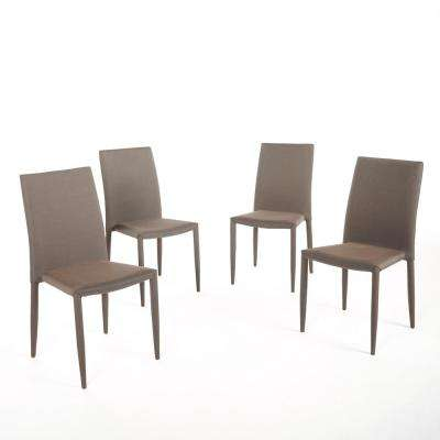 Comstock Brown Fabric Tweed Stacking Chairs (Set of 4)