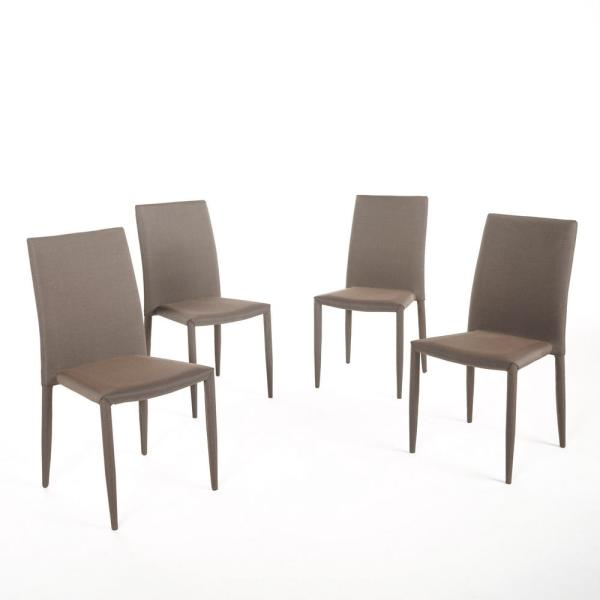 Comstock Brown Fabric Tweed Stacking Chairs Set Of 4