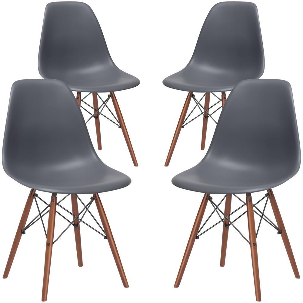 Vortex Grey Side Chair with Walnut Legs (Set of 4)