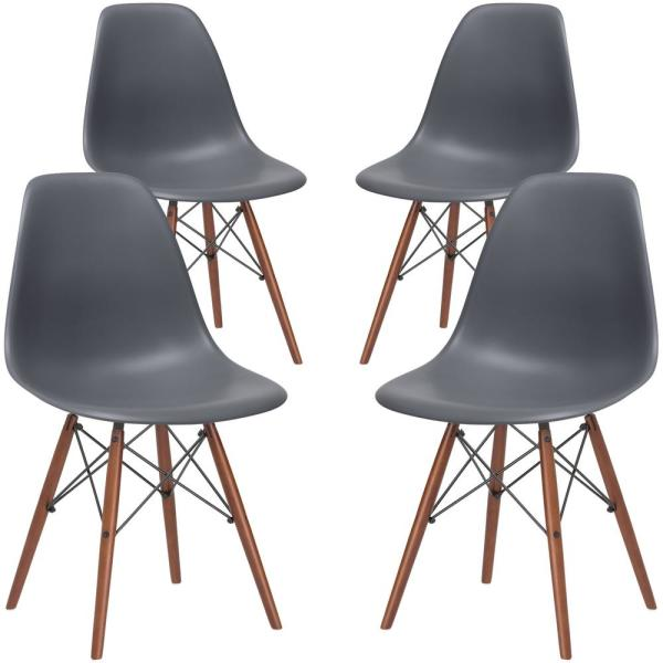 Poly and Bark Vortex Grey Side Chair with Walnut Legs (Set of 4)