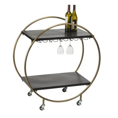 Gold and Matte Black Washed Rolling Bar and Serving Cart