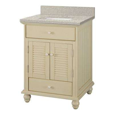 Cottage 25 in. W x 22 in. D Vanity in Antique White with Engineered Marble Vanity Top in Sedona with White Basin
