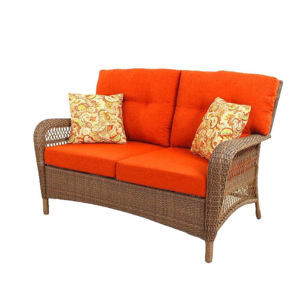 Martha Stewart Living Charlottetown 2012 Brown All-Weather Wicker Patio Loveseat with Rust Cushions-DISCONTINUED