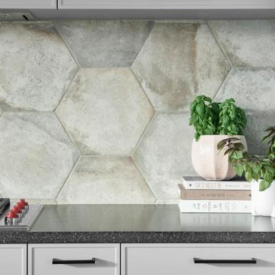 Boston Ferro Hex Bianco 14-1/8 in. x 16-1/4 in. Porcelain Floor and Wall Tile (11.05 sq. ft. / case)