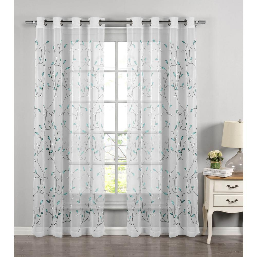Window Elements Sheer Wavy Leaves Embroidered Turquoise Grommet Extra Wide Curtain Panel 54 In