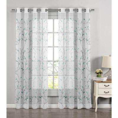Sheer Wavy Leaves Embroidered Sheer Turquoise Grommet Extra Wide Curtain Panel, 54 in. W x 84 in. L
