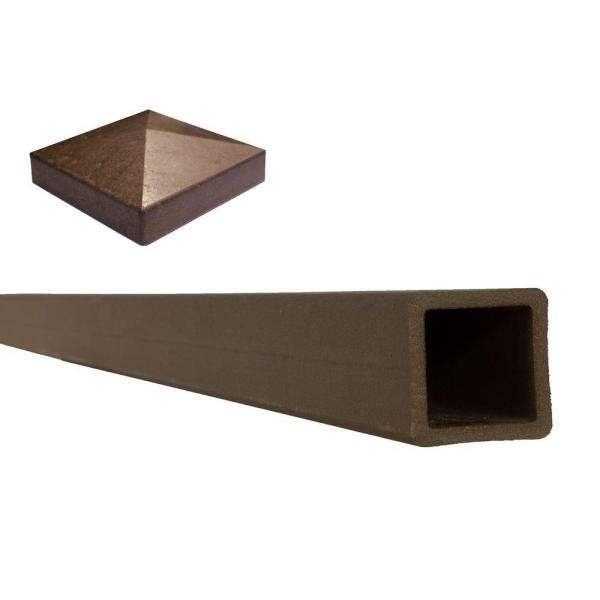 Seclusions 5 in. x 5 in. x 9 ft. Woodland Brown Wood-Plastic Composite Fence Post with Crown Post Cap