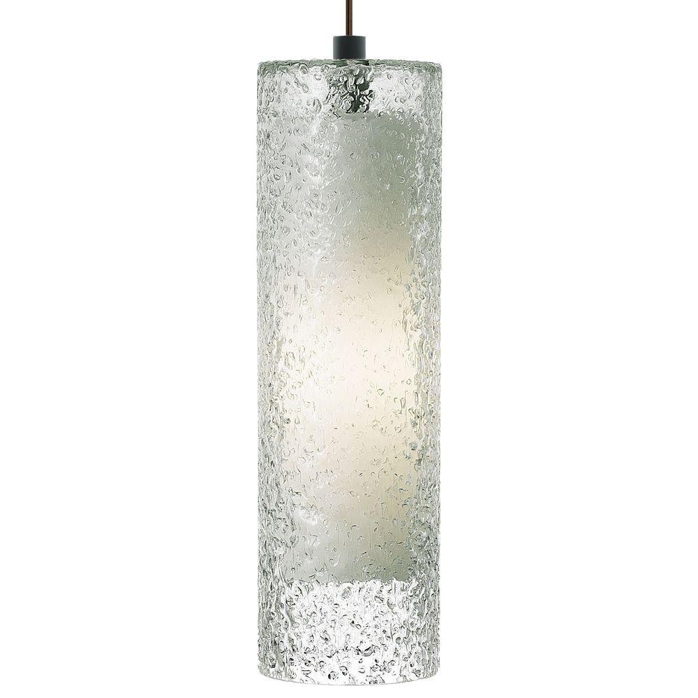 LBL Lighting Rock Candy 1-Light Bronze Fluorescent Cylinder Pendant with Clear Shade