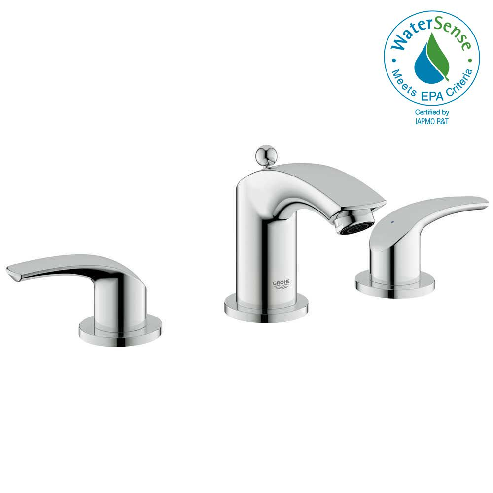 GROHE Eurosmart 8 in. Widespread 2-Handle Low-Arc Bathroom Faucet in ...