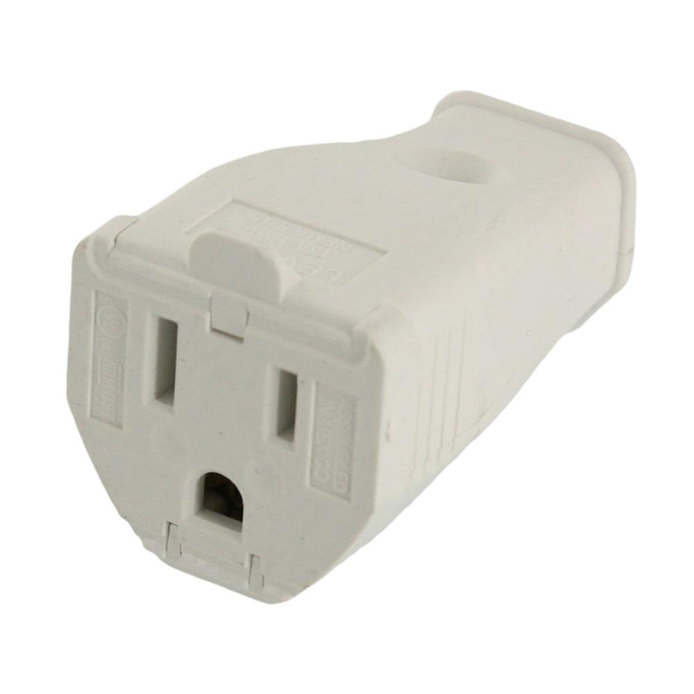 Leviton 15 Amp 125-Volt 3-Wire Grounding Connector, White-3W102-WH ...