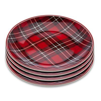 6 in. Plaid Red dessert plates (Set of 4)