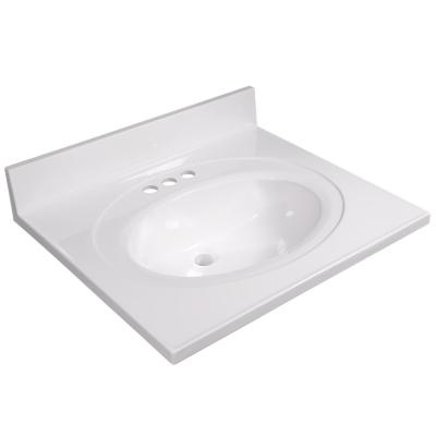 25 in. W x 22 in. D Cultured Marble Vanity Top in Solid White with Solid White Basin