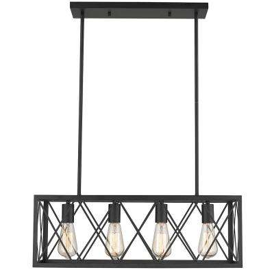Gamma 4-Light Black Finish 25 in. LED Pendant