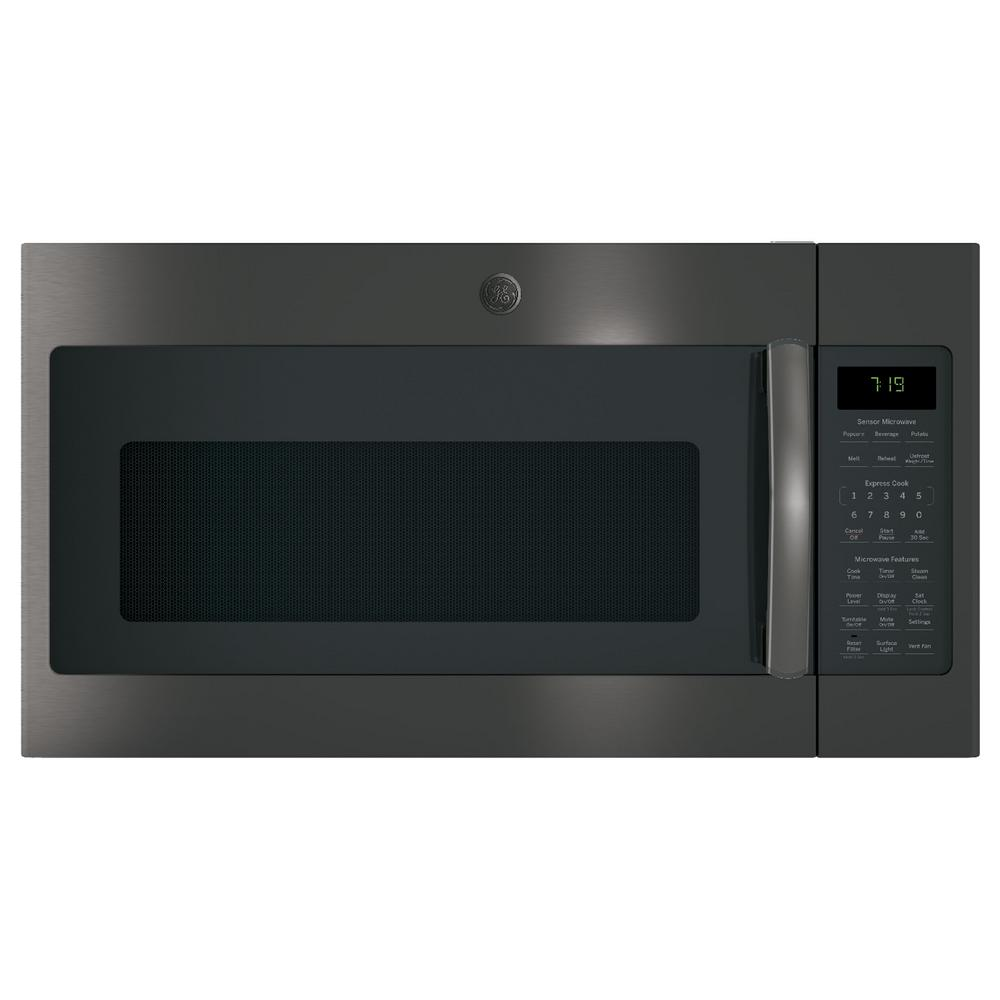 Ge 1 9 Cu Ft Over The Range Microwave With Sensor Cooking In Black Stainless Steel