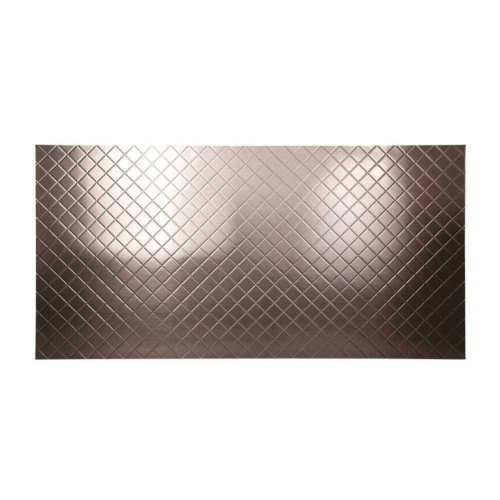 Fasade 96 in. x 48 in. Quilted Decorative Wall Panel in Brushed Nickel