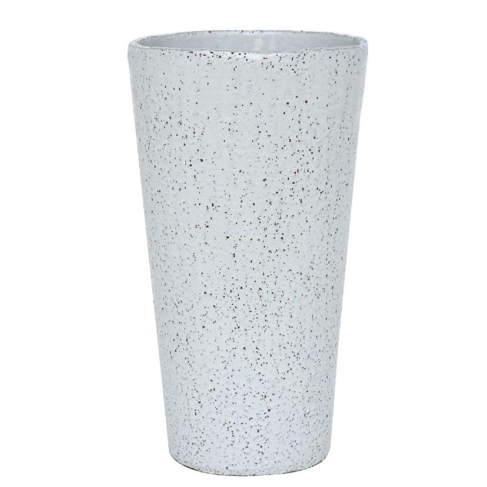 19.5 in. White Stoneware Tall Antiqued Vasum Pot