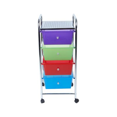 30 in. x 14 in. x 12 in. 4-Tier Plastic Drawer Storage Trolley in Multi Color