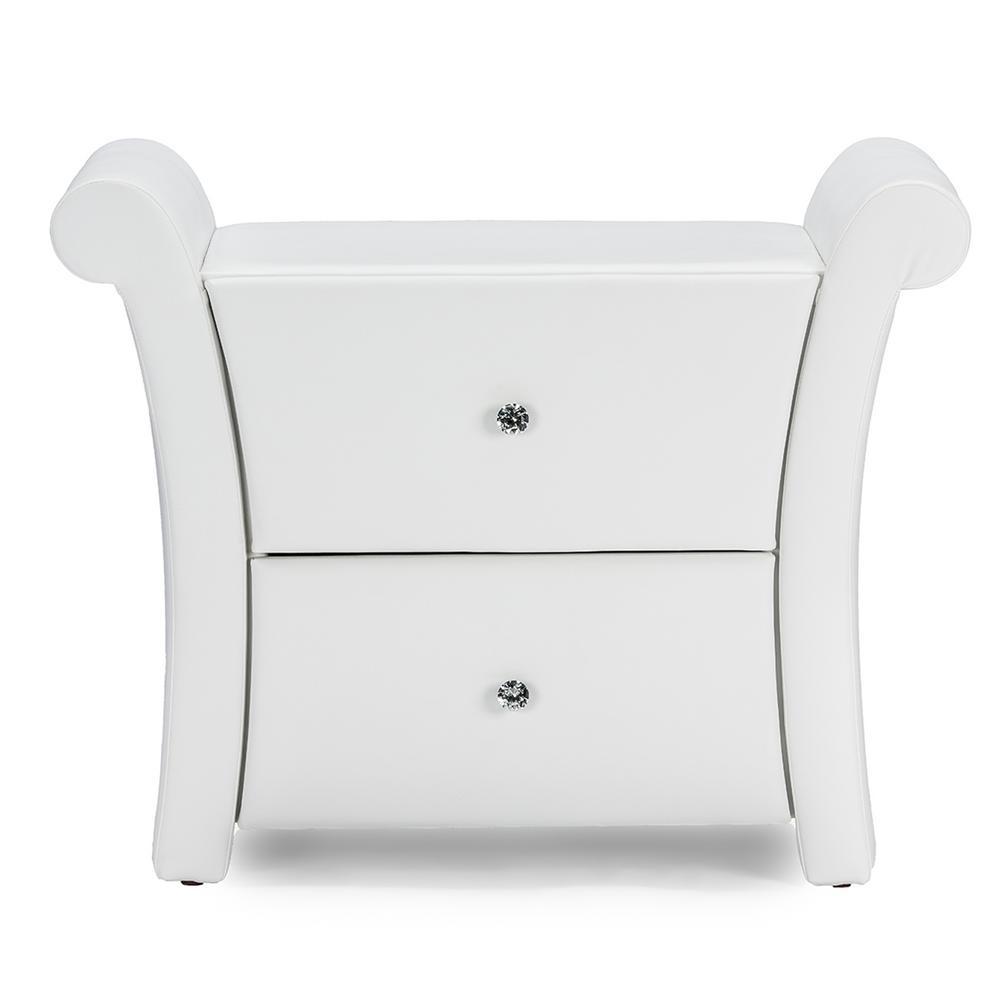 Victoria 2-Drawer White Nightstand