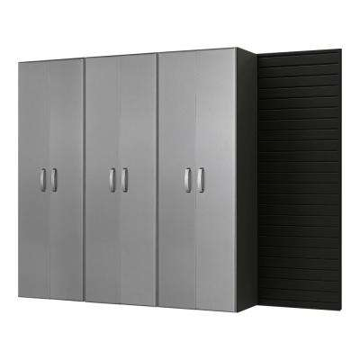 Tall 72 in. H x 96 in. W x 17 in. D Wall Mounted Garage Cabinet Set in Black/Platinum Carbon Fiber (3 Piece)
