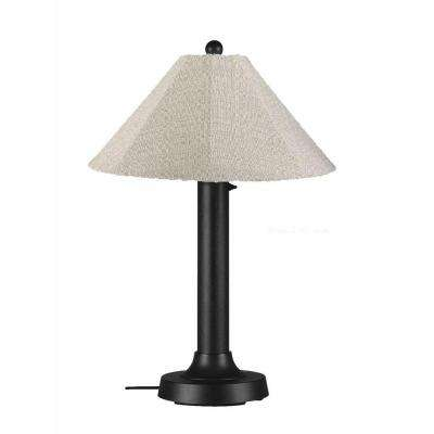 Catalina 34 in. Black Outdoor Table Lamp with Silver Linen Shade