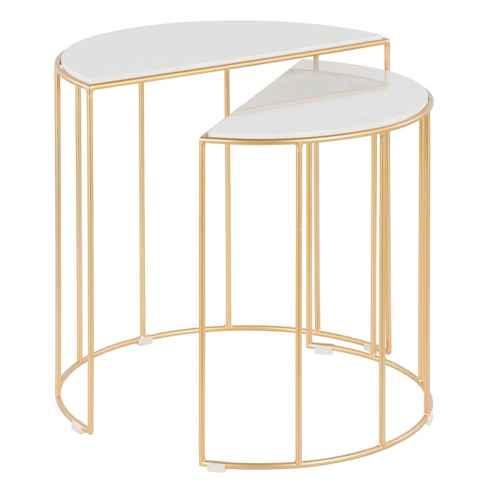 Canary Nesting Tables in Gold Metal with White Marble Top (Set