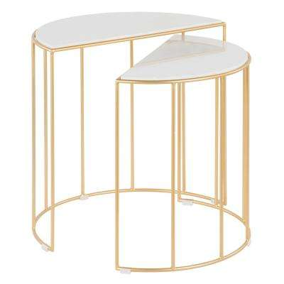 Canary Nesting Tables in Gold Metal with White Marble Top (Set of 2)