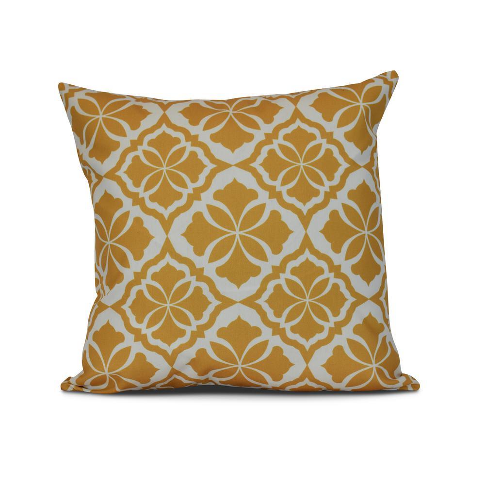 16 in. Gold Ceylon Geometric Print Pillow