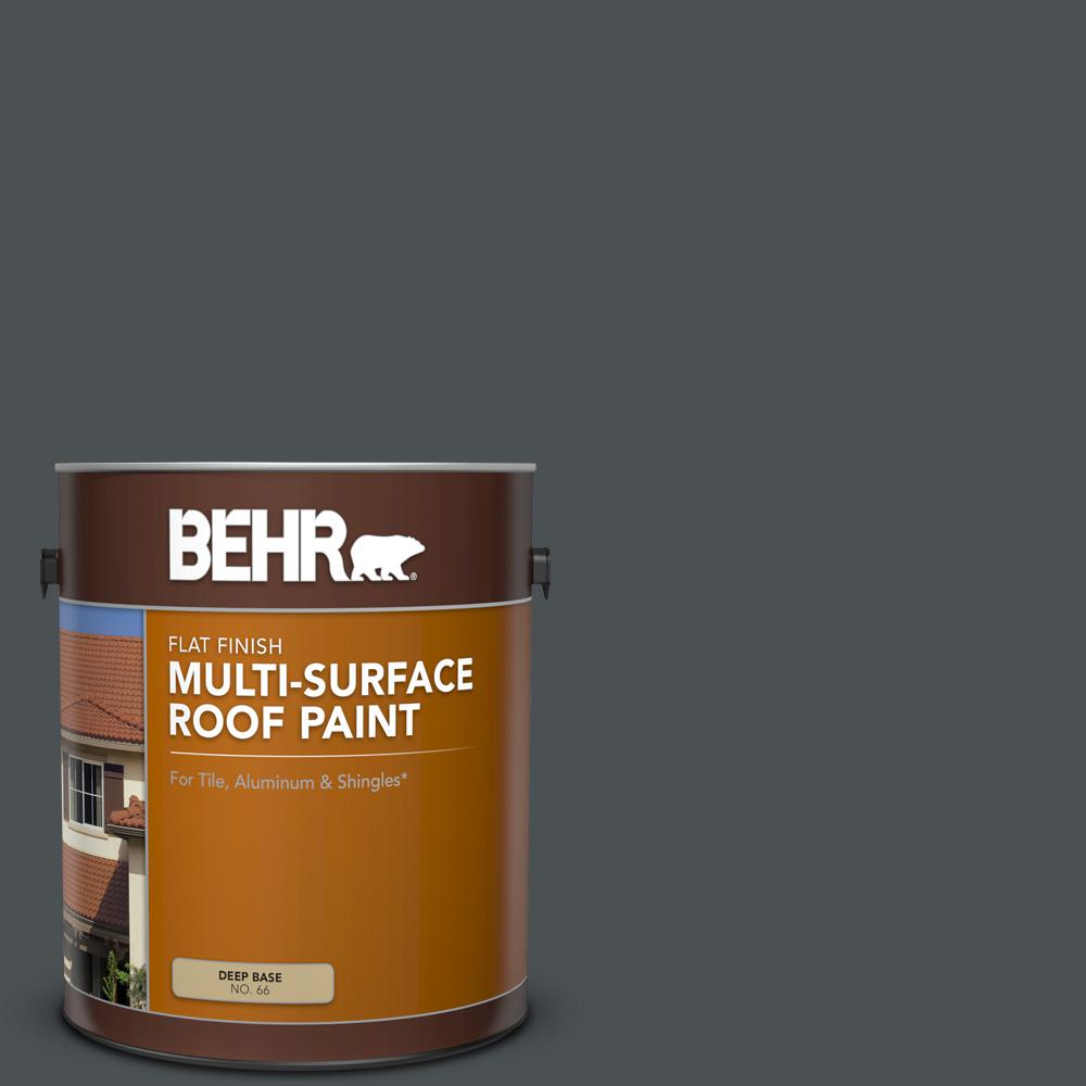 Behr 1 Gal Ppu26 01 Satin Black Flat Multi Surface Exterior Roof Paint 06601 The Home Depot