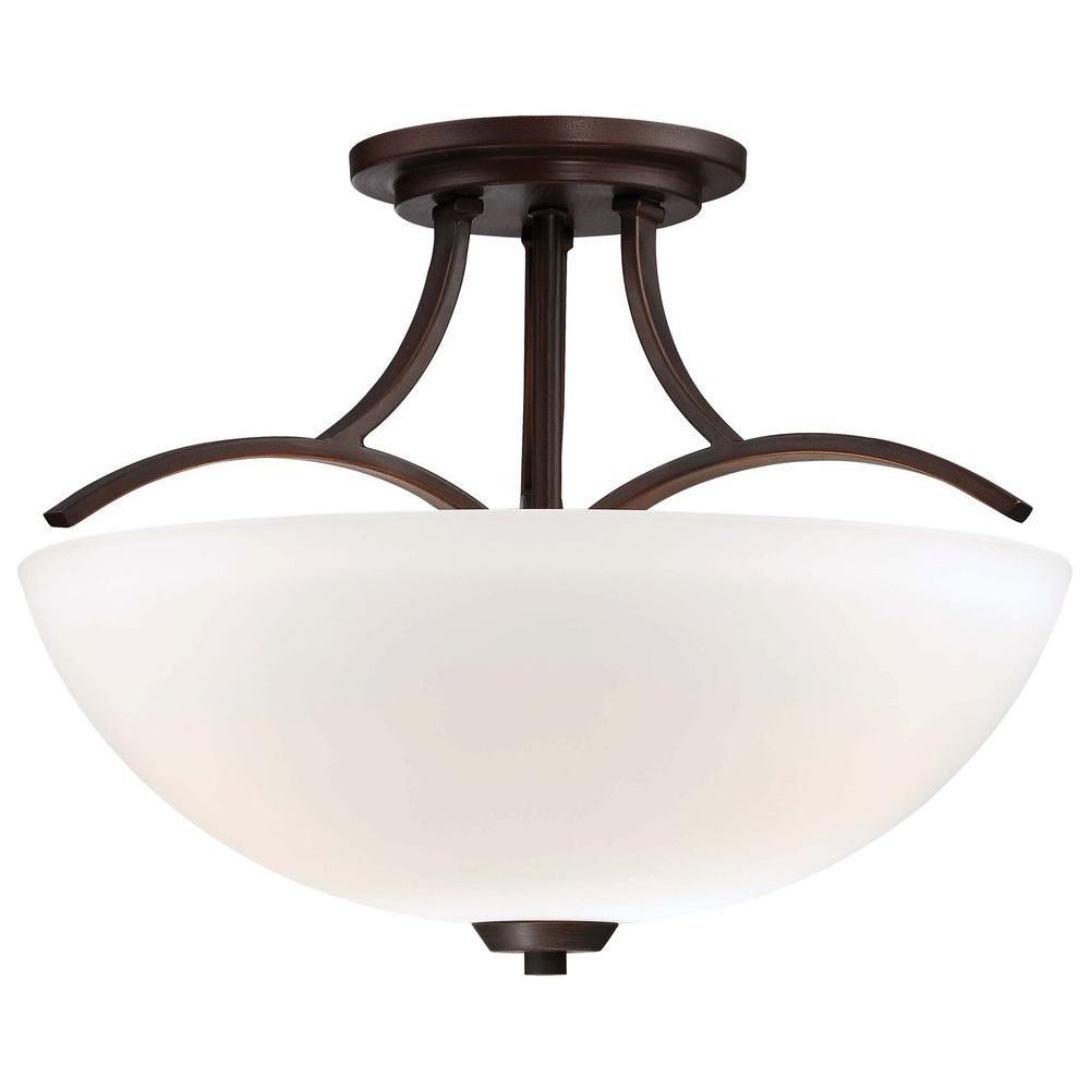 Overland Park 3-Light Vintage Bronze Semi-Flush Mount Light