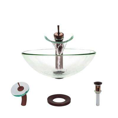 Glass Vessel Sink in Crystal with Waterfall Faucet and Pop-Up Drain in Oil Rubbed Bronze