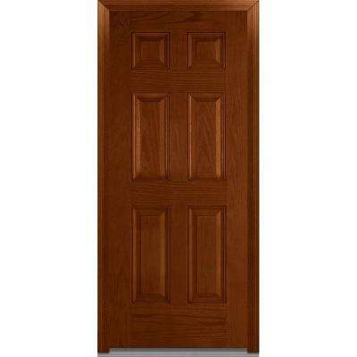 32 in. x 80 in. Severe Weather Right-Hand Outswing 6-Panel Classic Stained Fiberglass Oak Prehung Front Door
