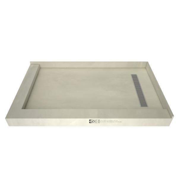 Redi Trench 42 in. x 48 in. Double Threshold Shower Base with Right Drain and Polished Chrome Trench Grate