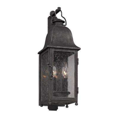 Larchmont 2-Light Aged Pewter Outdoor Wall Mount Lantern