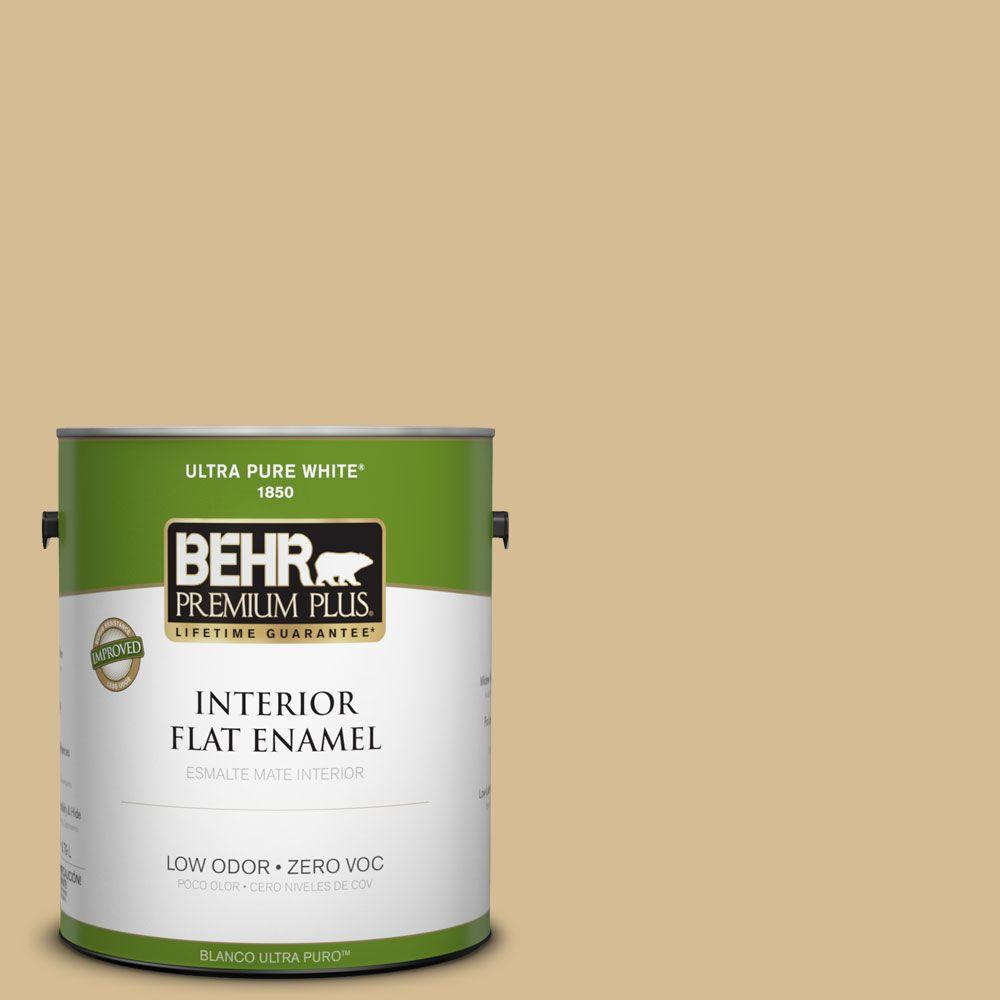 BEHR Premium Plus 1-gal. #330F-4 Pebble Path Zero VOC Flat Enamel Interior Paint-DISCONTINUED