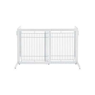 HS Wood Freestanding Pet Gate in White