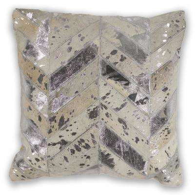 Ivory Chevron 18 in. x 18 in. Decorative Pillow