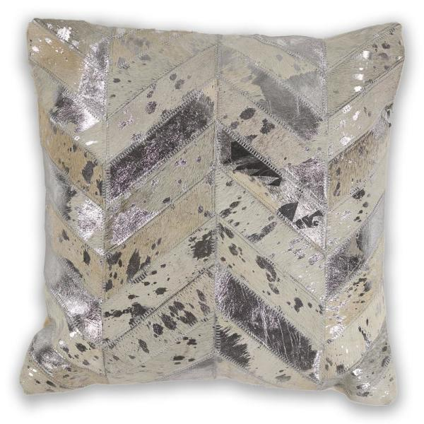 Foil Ivory Stripes Hypoallergenic Polyester 18 in. x 18 in. Throw Pillow
