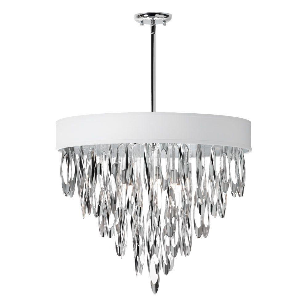 Radionic Hi Tech Allegro 8-Light Polished Chrome Chandelier with White Shade