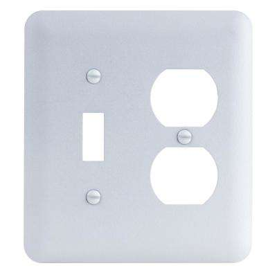 2-Gang Toggle/Duplex Maxi Metal Wall Plate, White Textured