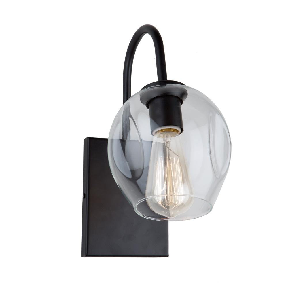ARTCRAFT Organic 1-Light Black Sconce The  Organic  collection features a dimple clear glass suspended on a multi direction black frame.