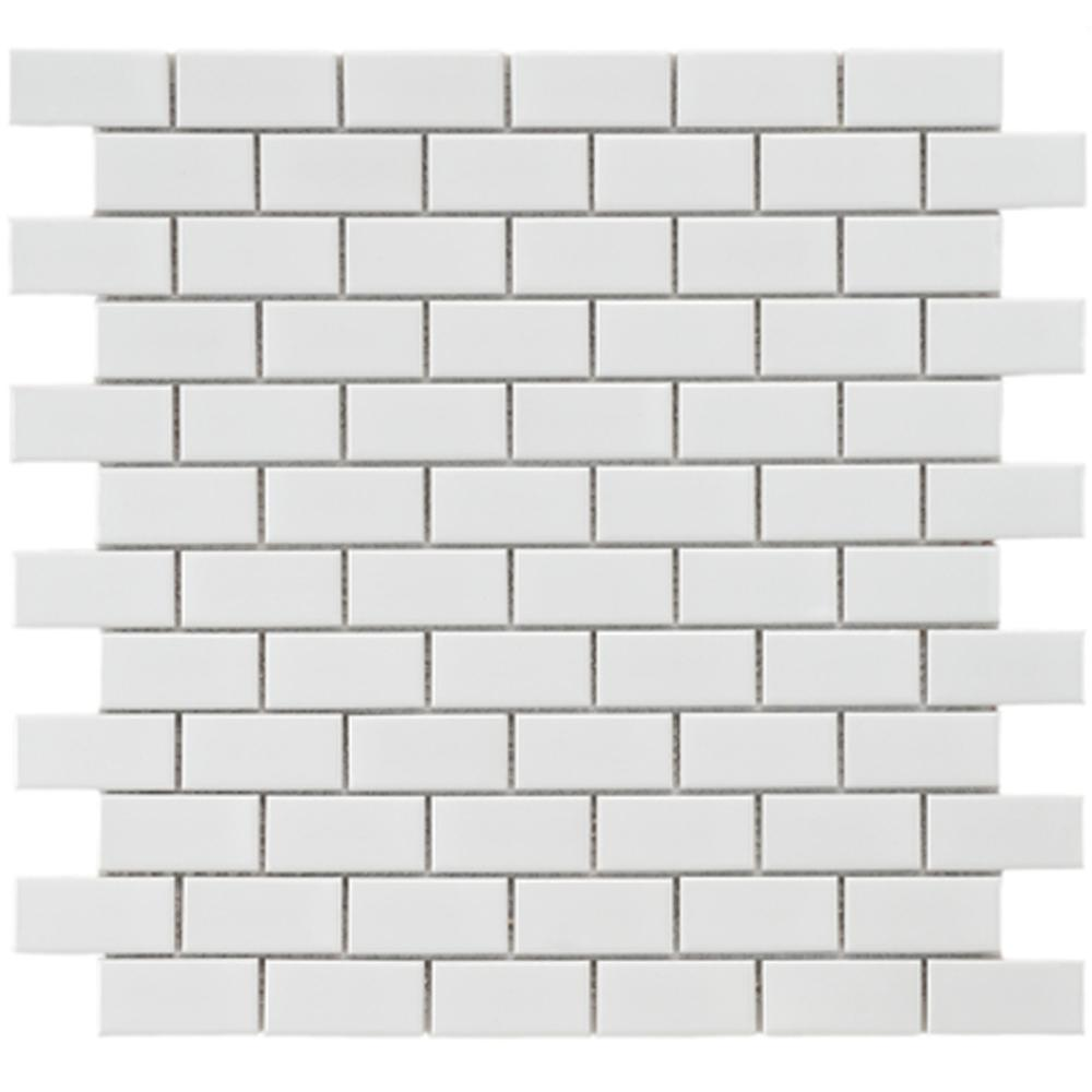 Merola Tile Metro Subway Glossy White 11-3/4 in. x 11-3/4 in. x 5 mm  Porcelain Mosaic Tile (9.6 sq. ft. / case)-FXLMSSW - The Home Depot